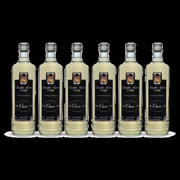 Foto de Caixa com 6 garrafas de Cachaça Ouro- Garrafa 750ml